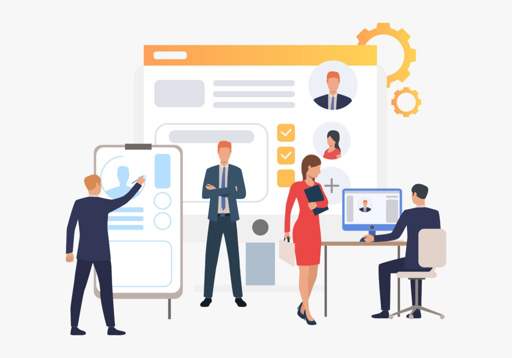 Recruitment agency, applicants and job interview. Personnel, hr, employment concept, presentation slide template. Can be used for topics like business, recruitment, human resources