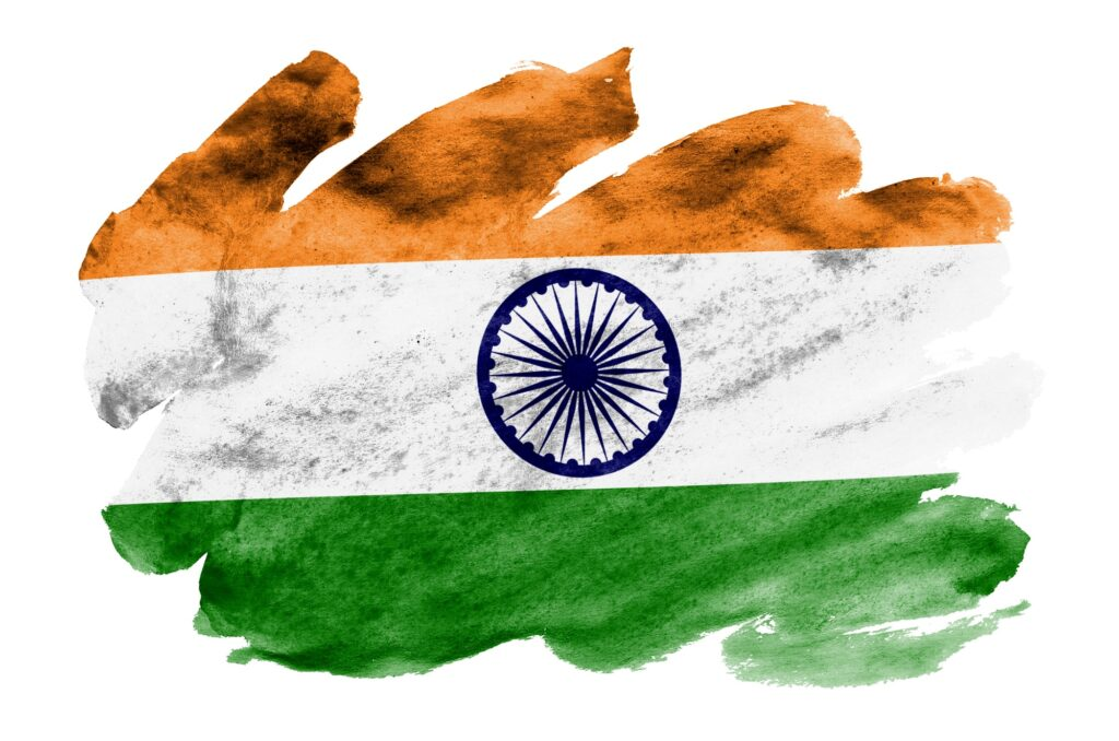 India flag is depicted in liquid watercolor style isolated on white background